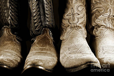 Art Print featuring the photograph Two Pair Of Cowboy Boots Are Better Than One by Lincoln Rogers
