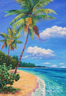 Caribbean Painting - Two Palms In Paradise by John Clark