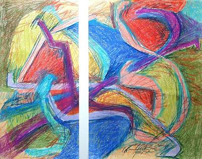 Abstract Expressionism Drawing - Two Panel Heat by Esther Newman-Cohen