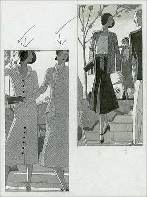 Two Panel Illustration Of Fashionable Women Print by Jean Pag?s
