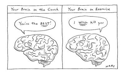Drawing - Two Panels: Your Brain On The Couch Brain Saying by Kim Warp