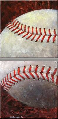 Baseball Painting - Two Part Baseball by Josh Hertzenberg