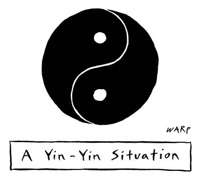 Drawing - Two Parts Of A Yin Yang That Are Both The Same by Kim Warp