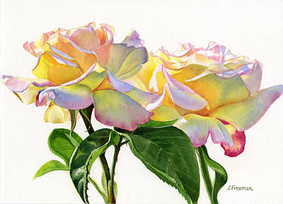 Peach Colors Painting - Two Peace Roses by Sharon Freeman