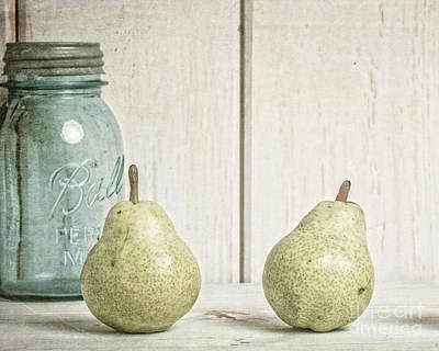 Food And Beverage Royalty-Free and Rights-Managed Images - Two Pear Still Life by Edward Fielding