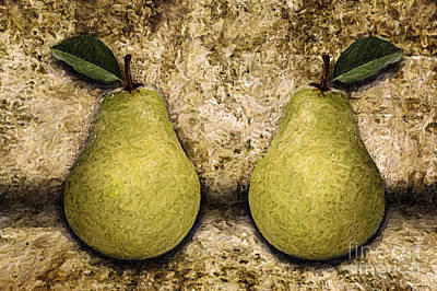 Healthy Eating Mixed Media - Two Pears by Milan Karadzic
