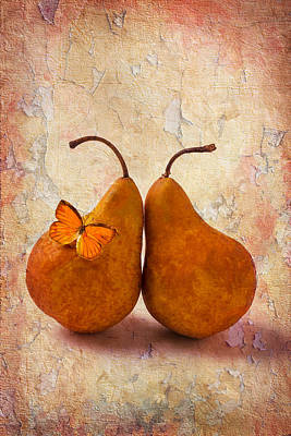 Leaned Photograph - Two Pears With Butterfly by Garry Gay