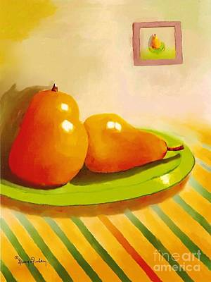 Table Cloth Digital Art - Two Pears With Striped Table Cloths by Dessie Durham