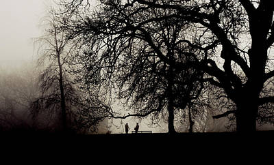 Photograph - Two People Meet In A Misty Park by Steve Ball