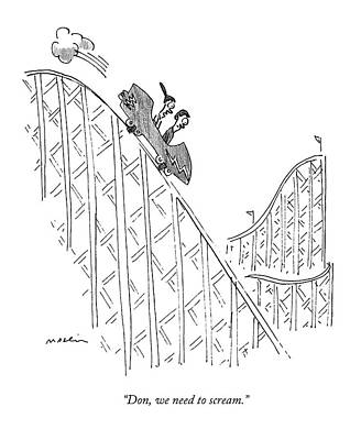 Amusement Park Drawing - Two People Ride A Roller Coaster by Michael Maslin