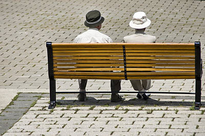 Photograph - Two People Seated On A Bench by Randall Nyhof