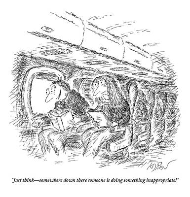 Plane Drawing - Two People Speaking On An Airplane by Edward Koren