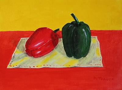 Art Print featuring the painting Two Peppers by Melvin Turner