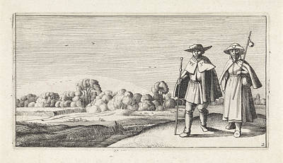 Pilgrims Drawing - Two Pilgrims In A Landscape, Jan Van De Velde II by Jan Van De Velde (ii) And Anonymous And Claes Jansz. Visscher (ii)