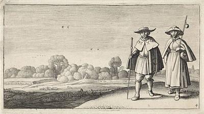 Pilgrims Drawing - Two Pilgrims In A Landscape, Jan Van De Velde II by Jan Van De Velde (ii) And Claes Jansz. Visscher (ii)