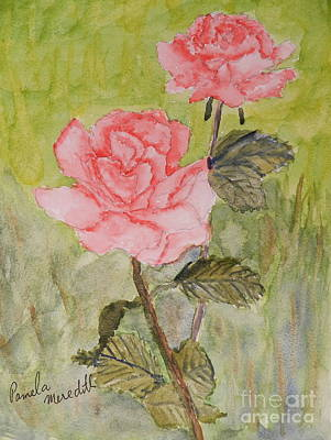 Two Pink Roses Art Print