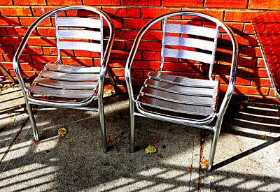 Aluminum Outdoor Photograph - Two Polished Chairs by Christopher McKenzie