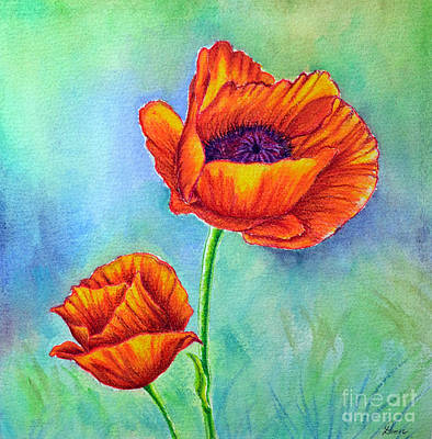 Painting - Two Poppies by Dion Dior
