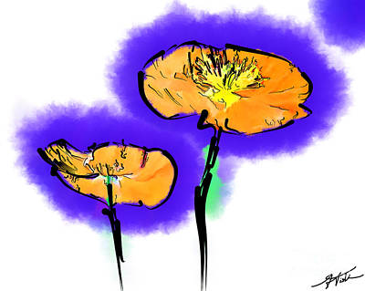 Digital Art - Two Poppies by Kirt Tisdale