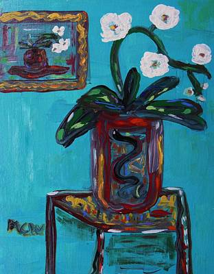 Self View Painting - Two Pots-white Orchids by Mary Carol Williams