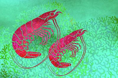Prawn Painting - Two Prawns In Seaweed by Cora Niele