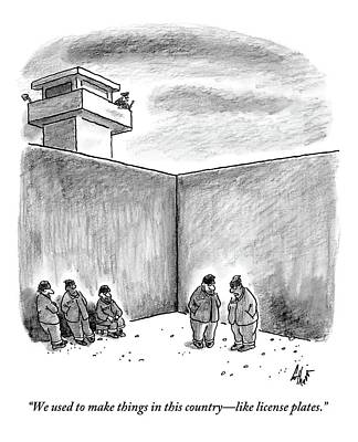 License Plate Drawing - Two Prisoners Talk In The A Prison Yard by Frank Cotham