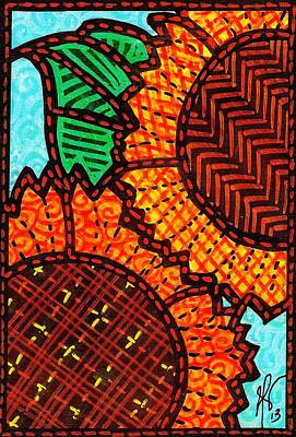 Two Quilted Sunflowers Art Print by Jim Harris