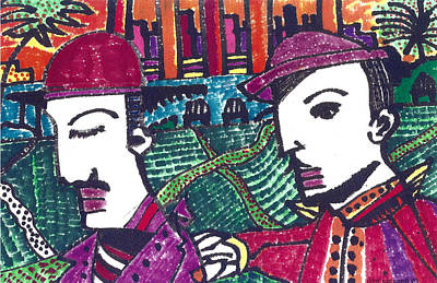 Two Rabbis In Miami Art Print