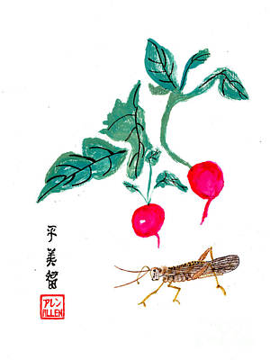 Photograph - Two Radishes And A Grasshopper - Chinese Watercolor Art by Merton Allen