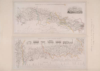 Two Railway Maps Art Print by British Library