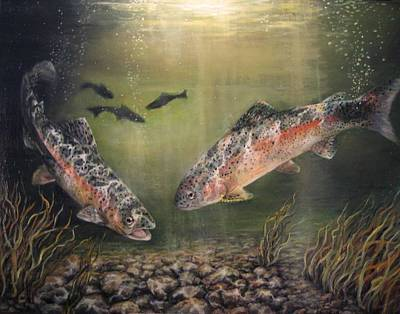 Trout Painting - Two Rainbow Trout by Donna Tucker