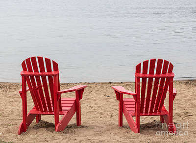 Photograph - Two Red Adirondack Chairs by Barbara McMahon