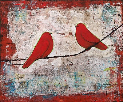 Mixed-media Painting - Two Red Birds On A Wire by Blenda Studio