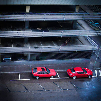 Cars Photograph - Two Red Cars In The City by Matthias Hauser