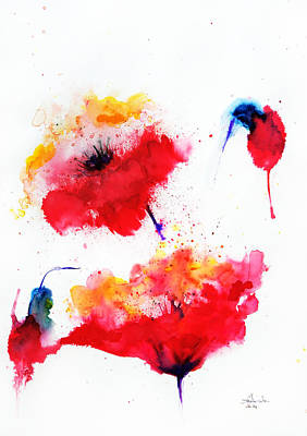 Poppies Field Drawing - Two Red Flowers by Isabel Salvador