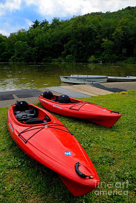 Two Red Kayaks Print by Amy Cicconi