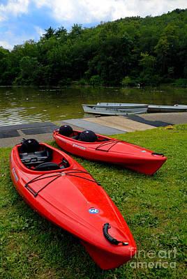 Two Red Kayaks Art Print