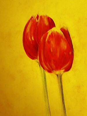 Two Red Tulips Art Print by Jean Cormier