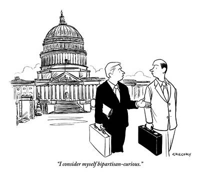 Congress Drawing - Two Representatives Hold Briefcases by Alex Gregory
