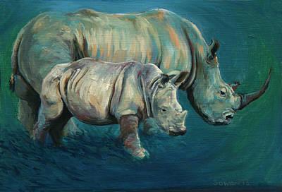 White Rhino Painting - Two Rhinos by Sarah Soward