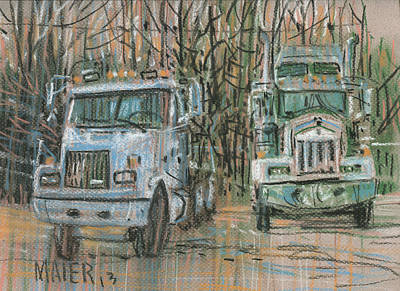 Tractor Drawing - Two Rigs by Donald Maier