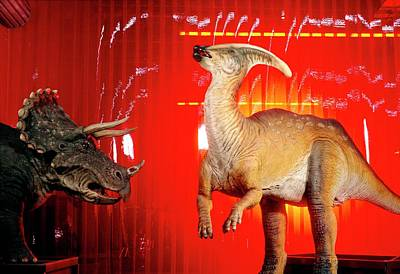 Two Robotic Dinosaurs Art Print by Peter Menzel, Dinamation/science Photo Library