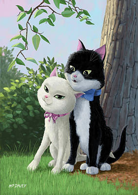 Two Romantic Cats In Love Art Print by Martin Davey