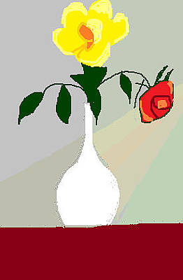 Painting - Two Roses In A Vase Digital by Anita Dale Livaditis