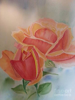 Nickel Yellow Painting - Two Roses by Ordy Duker