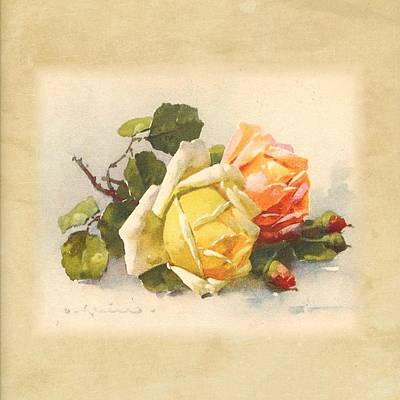 Painting - Two Roses Still Life by Florene Welebny