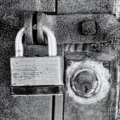 Two Rusty Old Locks - Bw Art Print