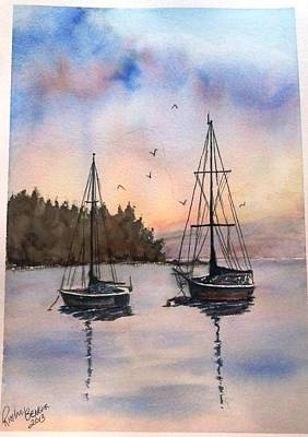Two Sail Boats At Anchor Sold Art Print
