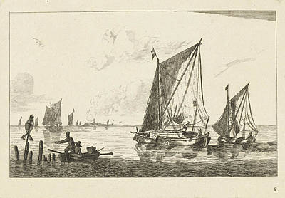 Rowboat Drawing - Two Sailboats And A Rowboat, Print Maker Anonymous by Anonymous And Reinier Nooms And Ch?reau