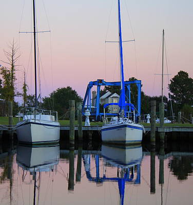 Two Sailboats At Dock Art Print by Carolyn Ricks